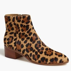 New J. Crew Leopard Print Calf Hair Ankle Boots